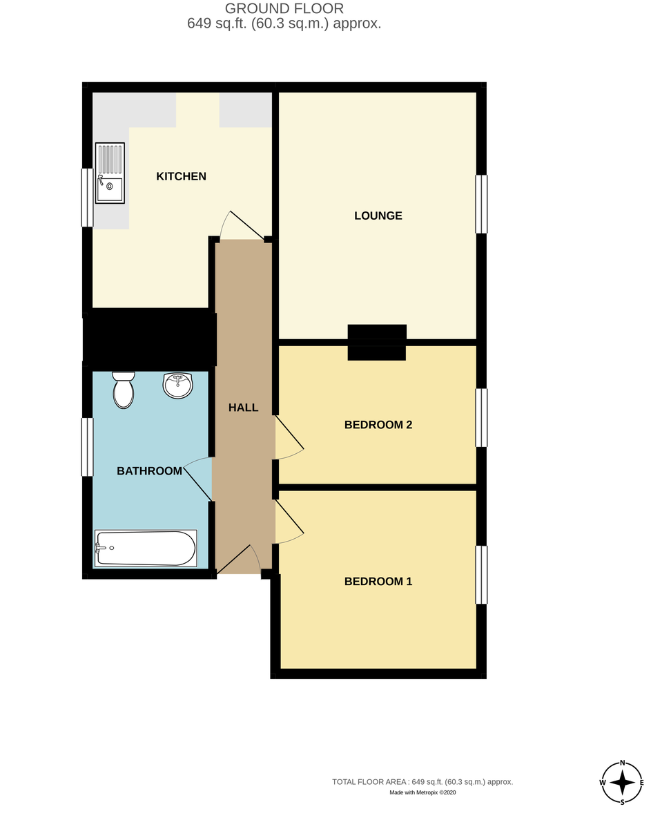 Floorplans For Flat A, 70-72 Upper Bar, Newport, TF10 7AW.